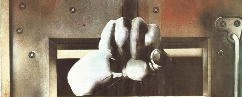 الصورة من بوستر أسبوع التضامن مع الأسرى والمعتقلين الفلسطينيين في السجون الإسرائيلية، أصدرته لجنة الدفاع عن الأسرى والمعتقلين الفلسطينيين في السجون الإسرائيلية عام ١٩٨٠، المصدر: مكتبة مؤسسة الدراسات الفلسطينية، بيروت.