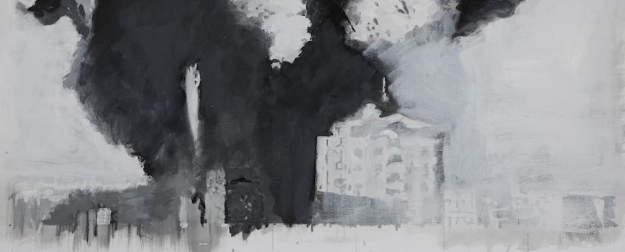 عيسى ديبي، هكذا رأيت غزة مدينة لم أرها، زيت على قماش، أبيض وأسود، ،٢٠١٨، مجموعة مؤسسة الدراسات الفلسطينية