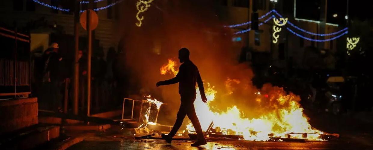 مواجهات بين متظاهرين فلسطينيين وقوات الأمن الإسرائيلية في القدس في 22 نيسان/أبريل 2021 © أ ف ب