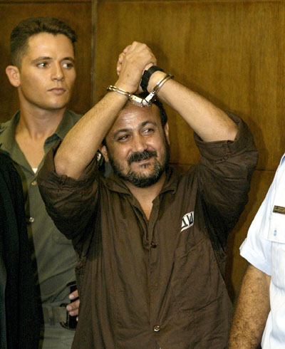 Marwan Barghouti in court in 2002 (photo credit: Flash90)